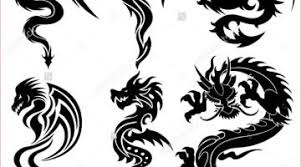 Tribal Chinese Dragon Tattoos New Stock Vector Set Of The Dragons Tattoo