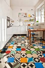 eclectic kitchen floor tile design in a kitchen with white