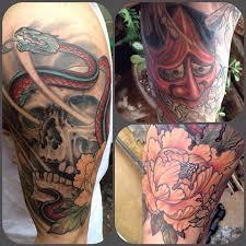 Skull Snake Peonies And Hannya Half Sleeve Tattoo