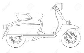 A Typical 1960 Style Motor Scooter In Outline Drawing Over White Stock Vector