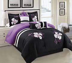 Amazon Purple Black and White forter Set Floral Bed In A