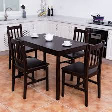 Costway 5PCS Solid Pine Wood Dining Set Table And 4 Chairs Home Kitchen  Furniture Brown Details About Ding Table And 4 Chairs Set Solid Pine Wooden Kitchen Home Fniture White Life Carver Wood 118cm Large Contemporary Funiture 118 76 73cm Canterbury With Bench Solid Pine Ding Table Chairs Yosemite 5 Piece Round Side Ivory Charm X90cm Salto With And Room Sets 1 Corona Costway 5pcs Brown Rakutencom Yakoe