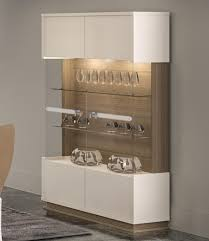 Contemporary 2 Door Display Cabinet In A Combination Of Shiny Ivory Gloss And Walnut Wood Effect Finish Choice Handles