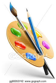 Art Palette With Paint Brush And Pencil Tools For Drawing