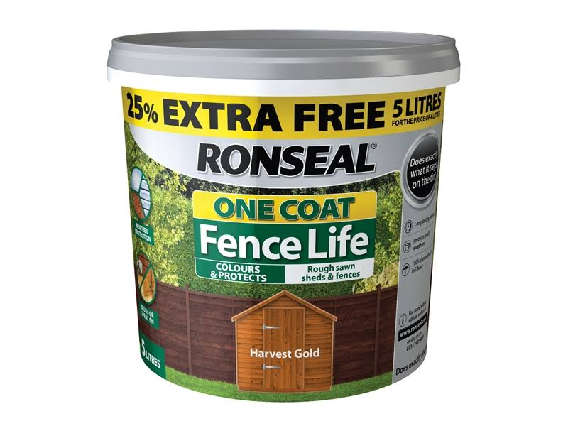 Ronseal - One Coat Fence Life Harvest Gold New 4 Litre +25%