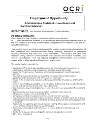Employment Opportunity Administrative Assistant Investment And Commercialization