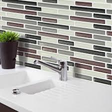 black brown gray 3d mosaic wall stickers backsplash tile wallpaper