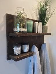 Rustic Bathroom Shelf With Towel Hooks
