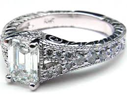Vintage Style Emerald Cut Diamond Engagement Ring With Sidestones