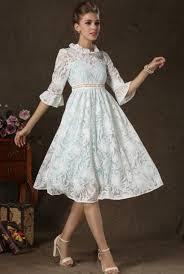 Dress White Vintage High Neck Half Sleeves Lace Full Skirt