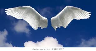 Angel Wings With Background Made Of Sky And Clouds