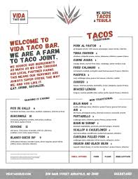 Swish Vida Taco Bar Menu On Behance To Fancy Catering Menu Big Truck ...