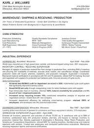 Manufacturing Supervisor Resume Sample Plant Manager