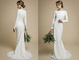 UTTA Long Sleeves Wedding Dress Elegant Tight Fit
