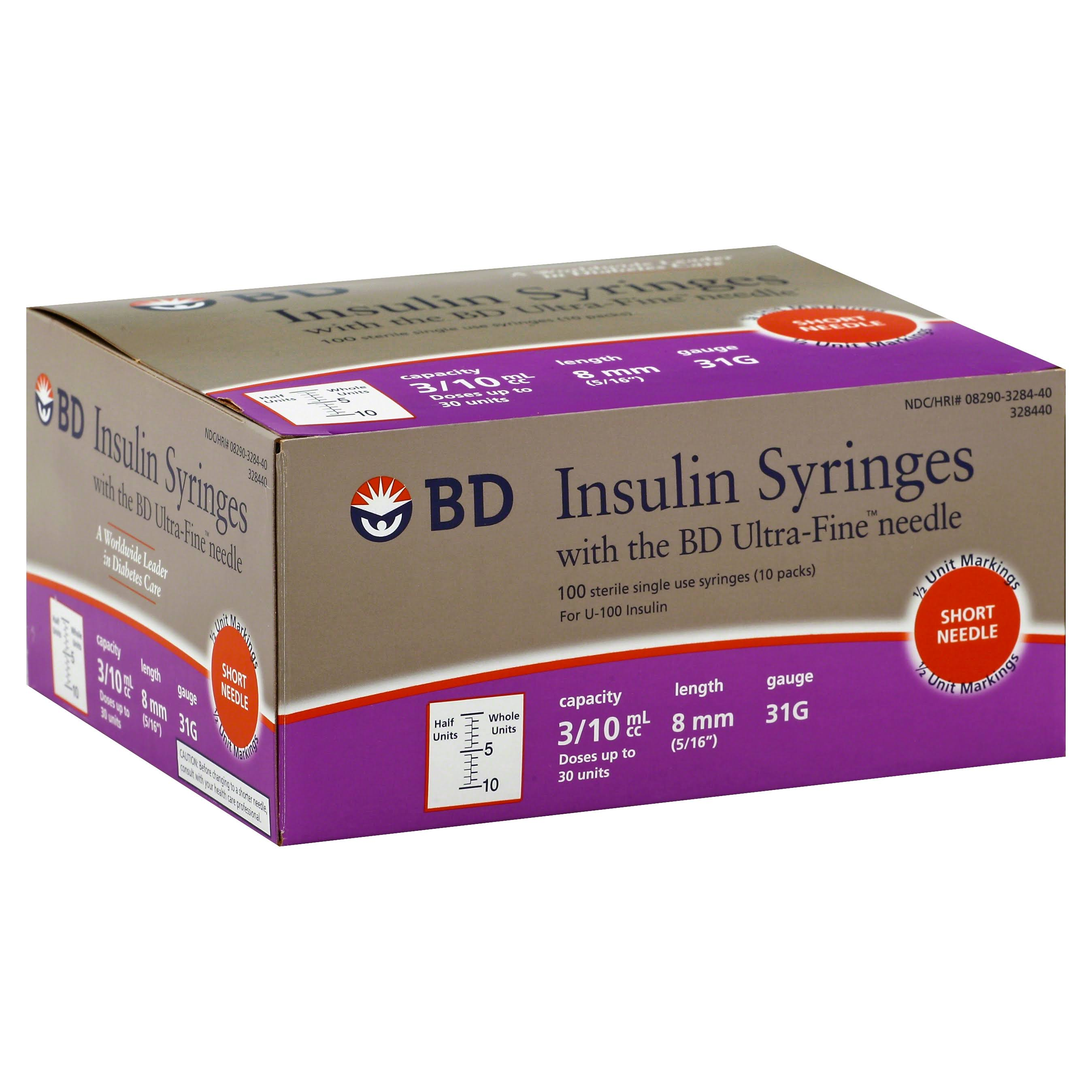 BD Ultra-Fine Insulin Syringes Short Needle - 31 Gauge, 100pk