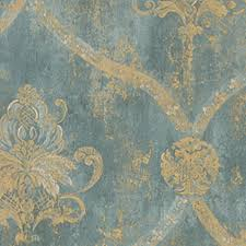 wallpaper faux aqua blue large damask with gold by norwall