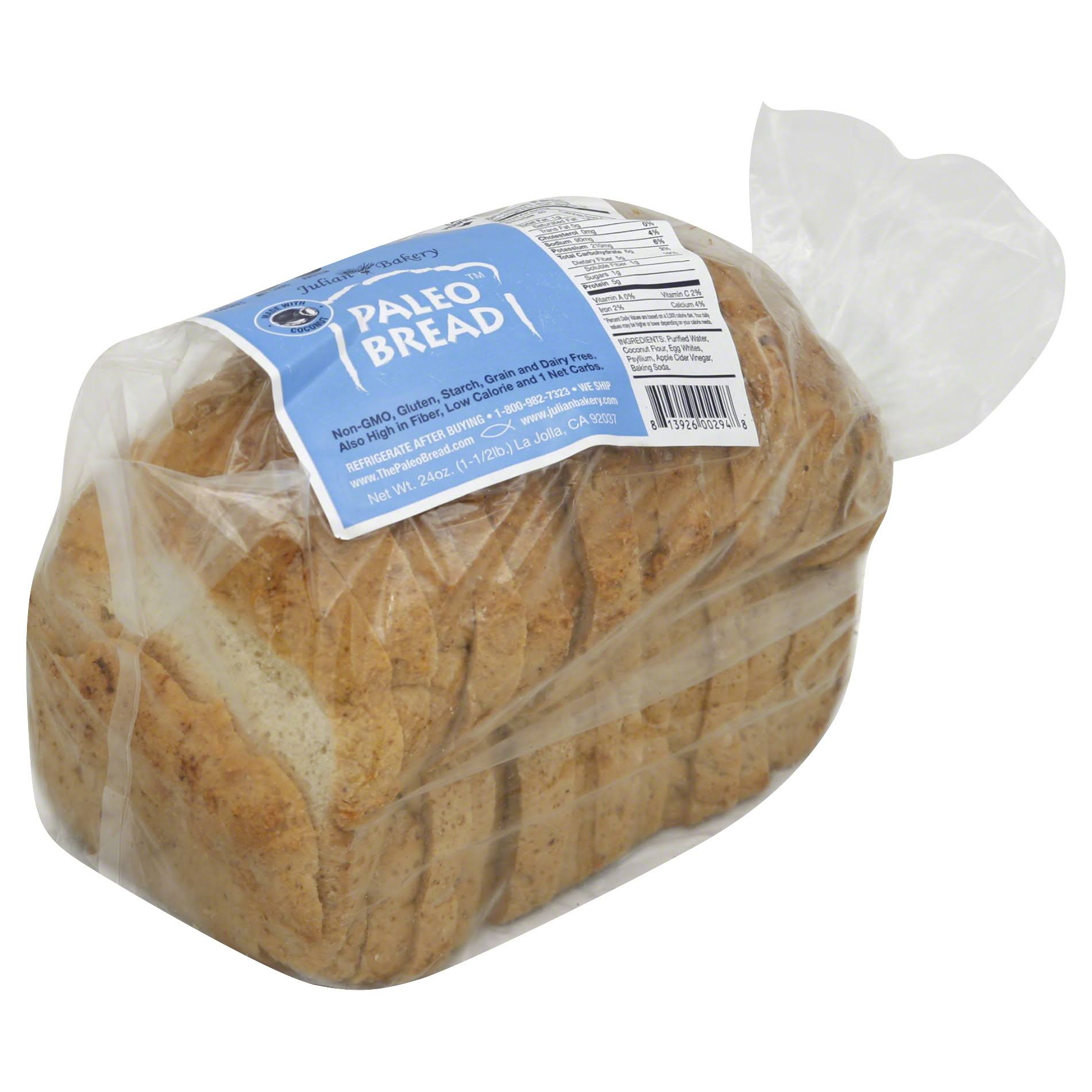 Julian Bakery Paleo Bread, Made with Coconut - 24 oz