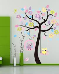 Cute Design Of Diy Modern Art To Decorate Wall With Sticker Tree Also Flower Plus Little Bird And Owl On The Hanging Chair
