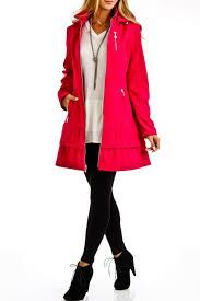 betsey johnson water repellent tiered hem coat in pink tourmaline
