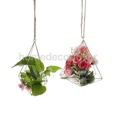 Rustic Style DIY Wedding Home Garden Air Plant Hanging Rack Flower Holder Geometric Planter Christmas Hanger