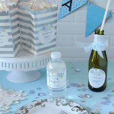 Blue Watercolor Flower Baby Boy Shower Theme Banner Idea