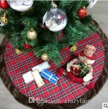 42 Inch Plaid Christmas Tree Skirt Faux Fur Double Layers Luxury Xmas Holiday Decorations Pet Favors Home