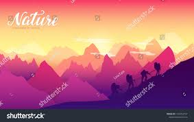 100 Mountain Design Group Silhouette People Hiking Sunset Stock Vector