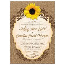 Rustic Sunflower Lace Floral And Burlap Wedding Invitation Front