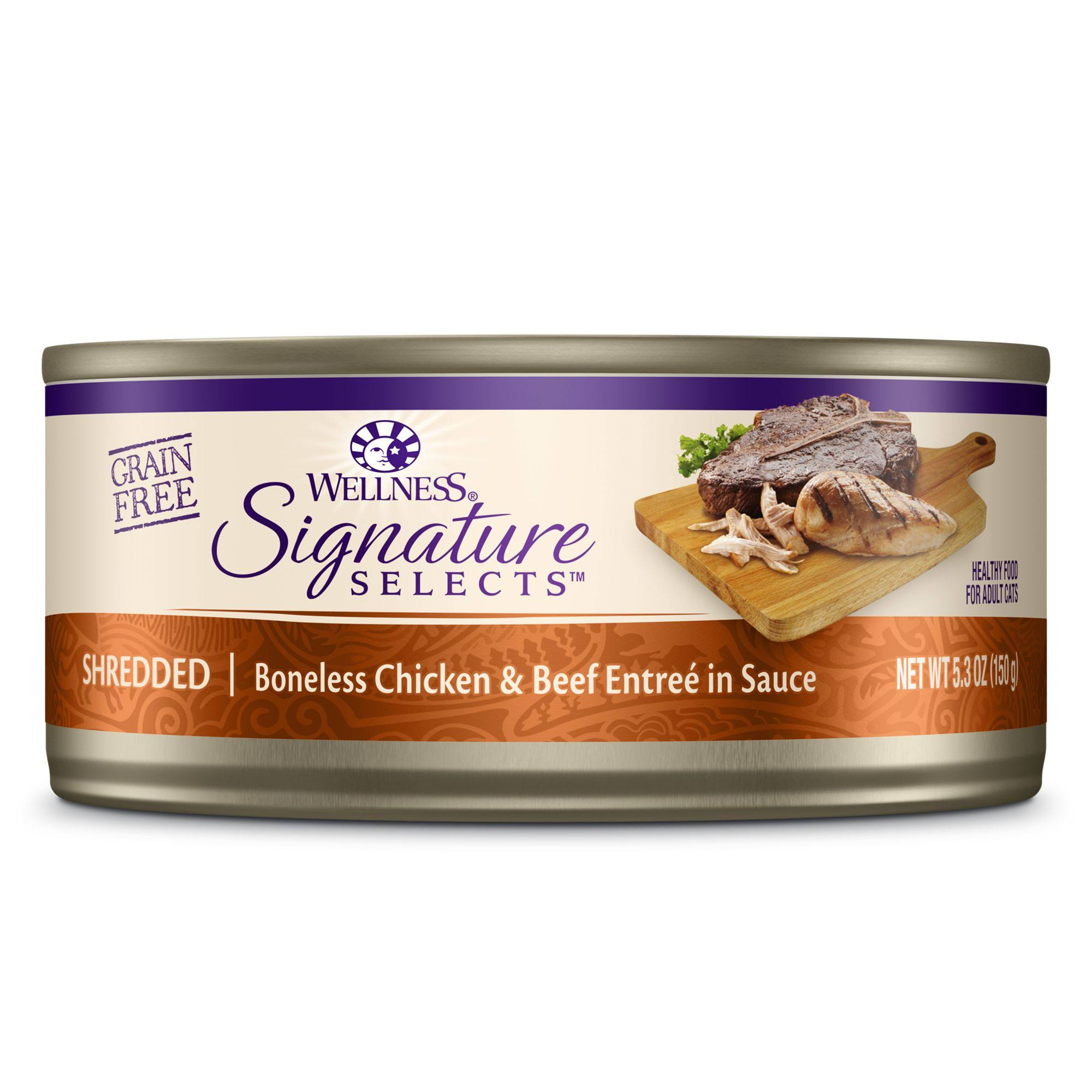 Wellness Signature Selects Grain Free Canned Cat Food - Shredded White Meat Chicken & Beef Entree