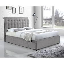 Light Grey Button Back Upholstered Super King Bed