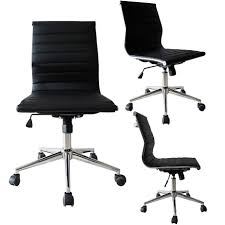 2xhome Black Swivel Adjustable Height PU Leather Office Chair Mid-Back  Armless No Arms Side Ribbed Executive Ergonomic Task Work High Back Black Fabric Executive Ergonomic Office Chair With Adjustable Arms Rh Logic 300 Medium Back Proline Ii Deluxe Air Grid Humanscale Freedom Task Furmax Desk Padded Armrestsexecutive Pu Leather Swivel Lumbar Support Oro Series Multitask With Upholstery For Staff Or Clerk Use 502cg Buy Chairoffice Midback Gray Mulfunction Pillow Top Cushioning And Flash Fniture Blx5hgg Mesh Biofit Elite Ee Height Blue Vinyl Without Esd Knob Workstream By Monoprice Headrest