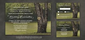 Country Rustic Carved Oak Tree Wedding Invitations Set