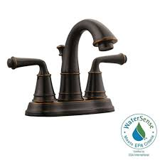 Brushed Bronze Tub Faucet by Delta Porter 4 In Centerset 2 Handle Bathroom Faucet In Oil