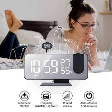 schlafzimmer led digital wecker radio projektion mit temperatur und feuchtigkeit spiegel uhr multifunktionale nacht zeit display