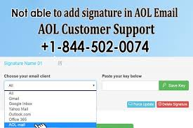 not able to add signature in aol email 1 844 502 0074