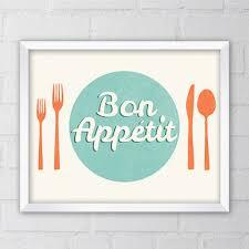 Bon Appetit Art Print French Saying 8x10 Printable Digital File Kitchen Wall