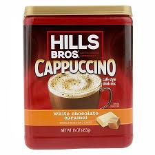 White Chocolate Caramel Cappuccino Instant Coffee Powder Drink Mix 16 Ounce Canister