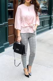 Pink Blouse And Grey Plaid Dress Pants For The Office Work Wear Outfits Spring