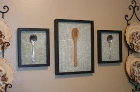 Inspiring Black Framed Kitchen Utensils Wall Decor Ideas With Floral Platter For Attractive