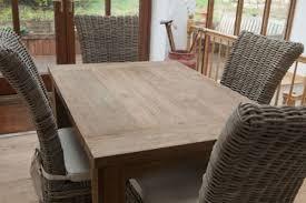 chaises en osier 1 2 m en teck recyclé naturel taplok table à manger 4 chaises en