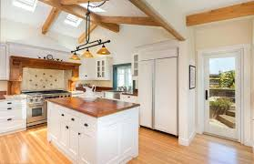 Country White Kitchen Cabinets Style With Cherry Butcher Block Island French