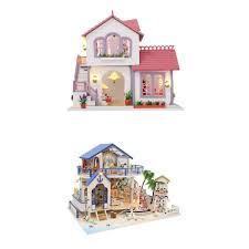 Splendid Design Doll Houses With Furniture Wooden 6 Room Set Dolls