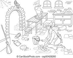 Cartoon Coloring Book Cinderella Cleans Up The Kitchen Girl On Floor Around Mess