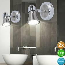 details zu 2x luxus led wand beleuchtungen bad spiegel spot len chrom leuchten silber