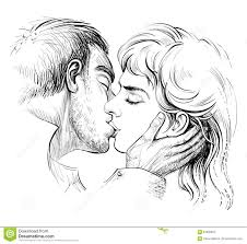 Kissing Couple In Love Black And White Hand Drawn Illustration