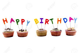 happy birthday cupcake with candles and white background Stock