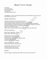 Sample Resume For 2 Years Experience In Manual Testing Software Tester Samples Qa Entry