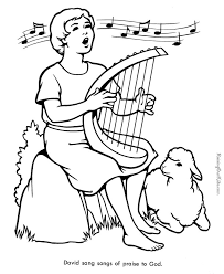 Free Printable Bible Coloring Page Of David Playing His Harp