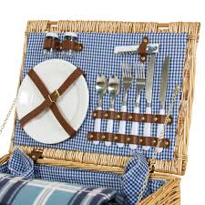 Char Broil Patio Caddie Lava Rocks by 2 Person Wicker Picnic Basket W Cutlery Plates Glasses