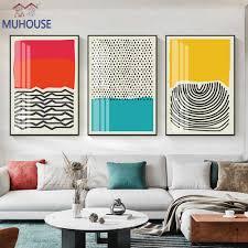 moderne geometrische rot blau gelb abstrakte linie welle punkt poster wand kunst leinwand malerei und drucke wohnzimmer hause dekoration